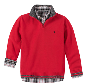 NEW Izod Boy/'s 2-Piece Holiday Button Up /& 1//4 Sweater Set Size Small 6//7