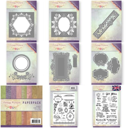 New Out Hexagon Dies /& Stamps Border Oval Jeanine/'s Art Vintage Flowers