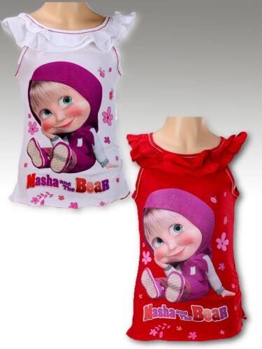 Masha und der Bär T-Shirt 98 104 110 116 122 128 kurzarm Shirt Mascha Kinder rot