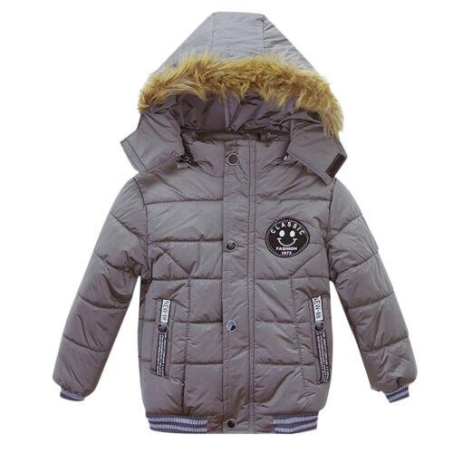 Winter Toddler Baby Kids Boy Fur Down Jacket Overcoat Outerwear Warm Hooded Coat