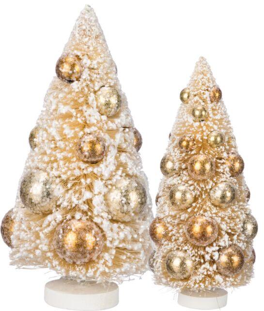 PBK Vintage Style Cream Bottle Brush Holiday Trees ~ Set// 2 ~ 9 Inch /& 6 Inch