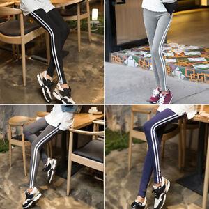 b70e12fb Image is loading Women-High-Waist-Side-Striped-Stretch-Leggings-Jeggings-