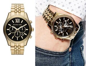 8a587e6a0be4 Image is loading Michael-Kors-Lexington-Chronograph-Black-Dial-Gold-tone-