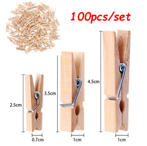 100-Mini-Wood-Pegs-Craft-Wedding-Hanging-Photo-Small-Clips-Wooden-Tiny-Art-Clip