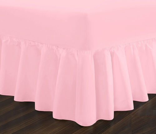 Poly Cotton Plain Dyed Fitted Valance Frilled Sheets OR Fitted Sheets All Sizes
