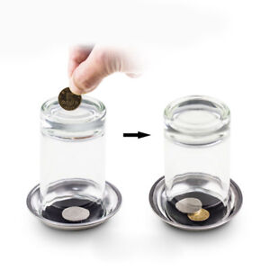 Coin-Thru-Into-Glass-Cup-Tray-Close-Up-Easy-Amazing-Gimmick-Magic-Trick-Prop-New