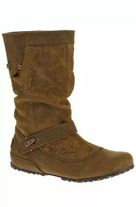 Merrell Haven Embossed Leather Pull Up Boots Brown Sz 6.5 New