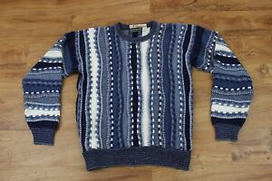 VTG-Herren-Campus-Pullover-3D-C00gi-Bill-Cosby-Style-Groesse-L-Notorious-B-I-G-blau-H74