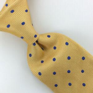 Charles-Tyrwhitt-Tie-Yellow-Blue-Polka-Dots-Woven-Luxury-Necktie-Silk-Ties-L4