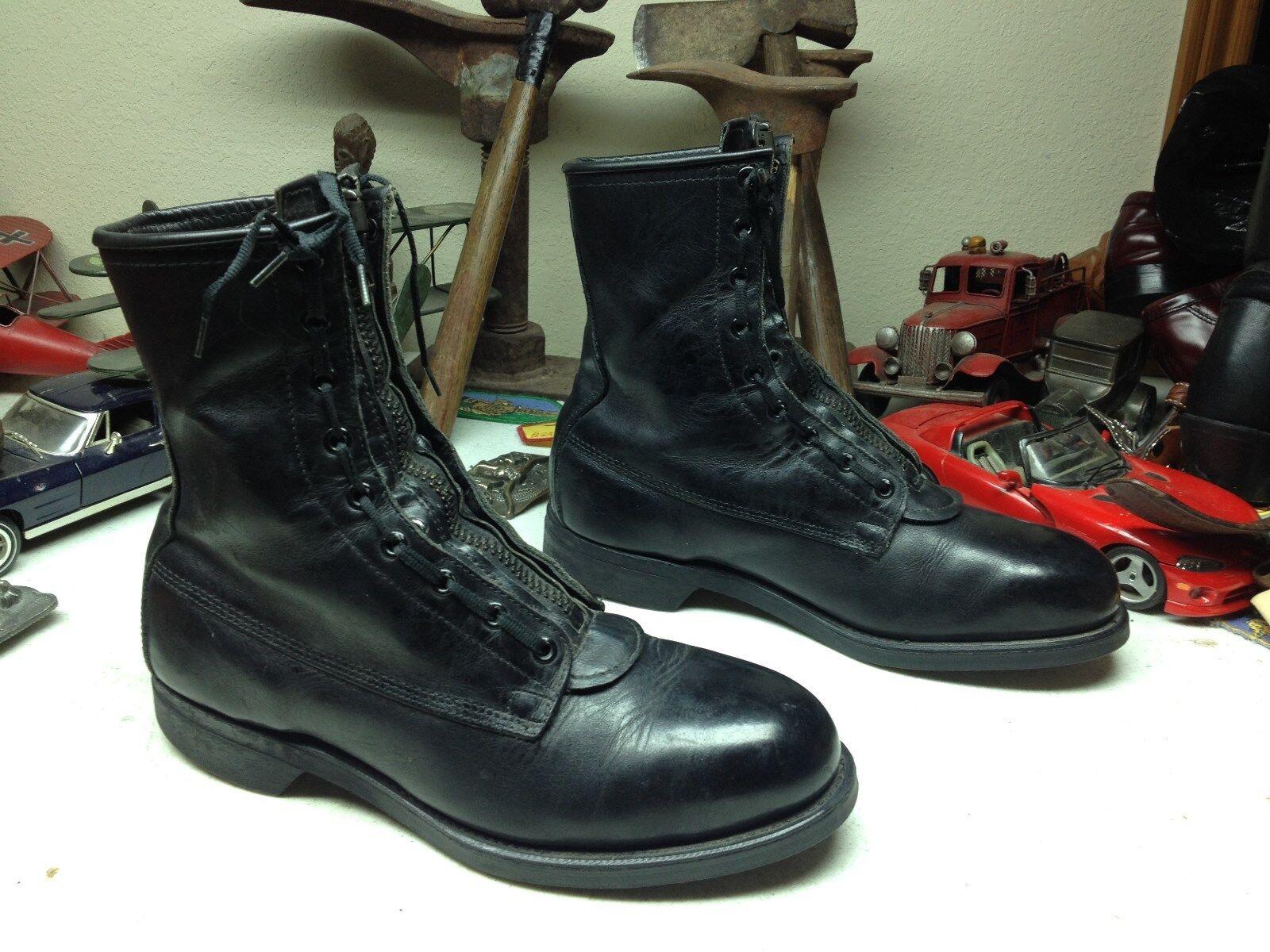 Vintage 1990 ADDISON EE. UU. Negro Cuero Con Cordones Cremallera botas de vuelo Puntera De Acero 8D