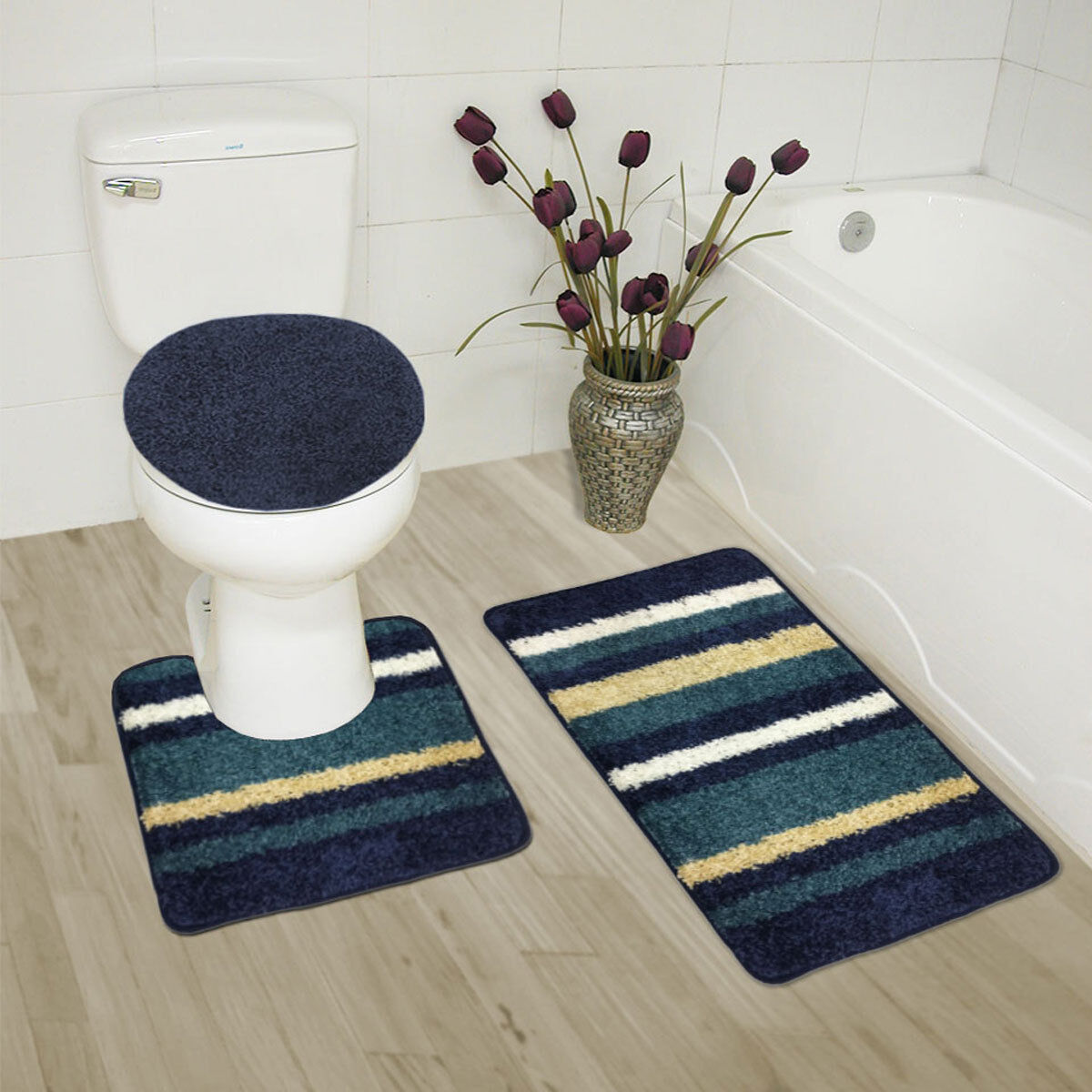 Abby 3 Pc Bathroom Rug Set, Bath Rug, Contour Rug, Lid