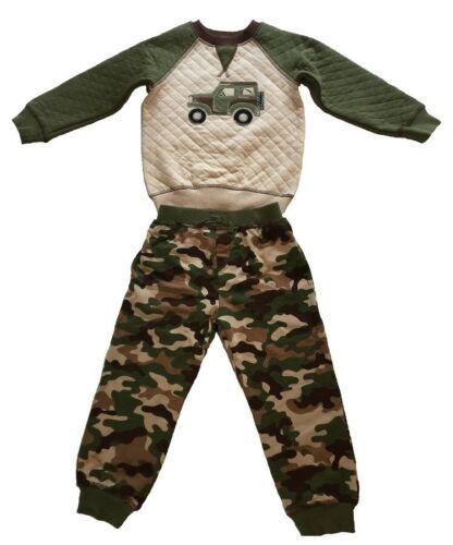 NWT Little Me Boy/'s 2pc Pants Set Size 12 months Khaki//Green Camo Truck