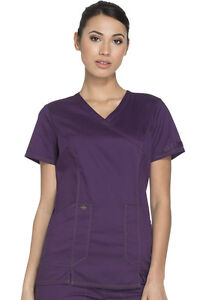 Olive Green Dickies Scrubs Essence Mock Wrap Top DK804 OLV Clothing, Shoes & Accessories Scrubs