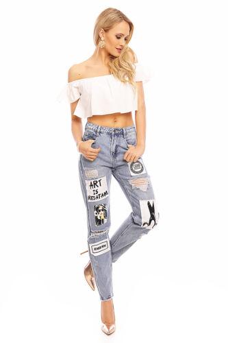Pantaloni donna Jeans boyfriend RICAMO PATCH Skinny Jeans Tubolari 1j050 fori
