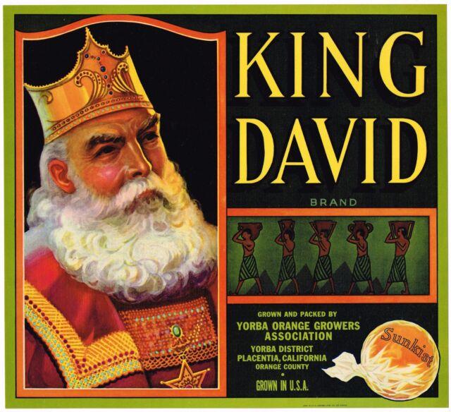 Placentia King David Jewish Jews Orange Citrus Fruit Crate Label Art Print