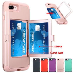 Fashion Wallet Mirror Phone Case With Card Holder Cover For Iphone 8