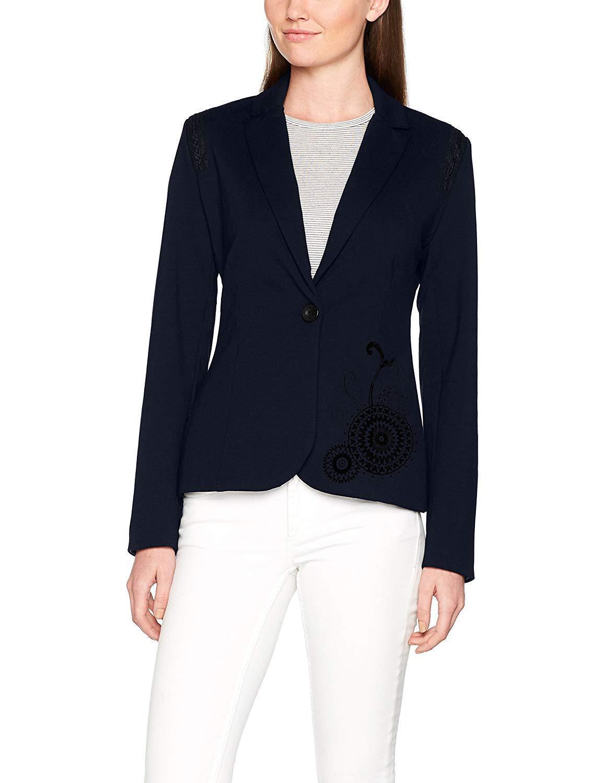 Desigual brand. Navy Blau suit top with schwarz design. US Größe 8. EUR Größe 42.