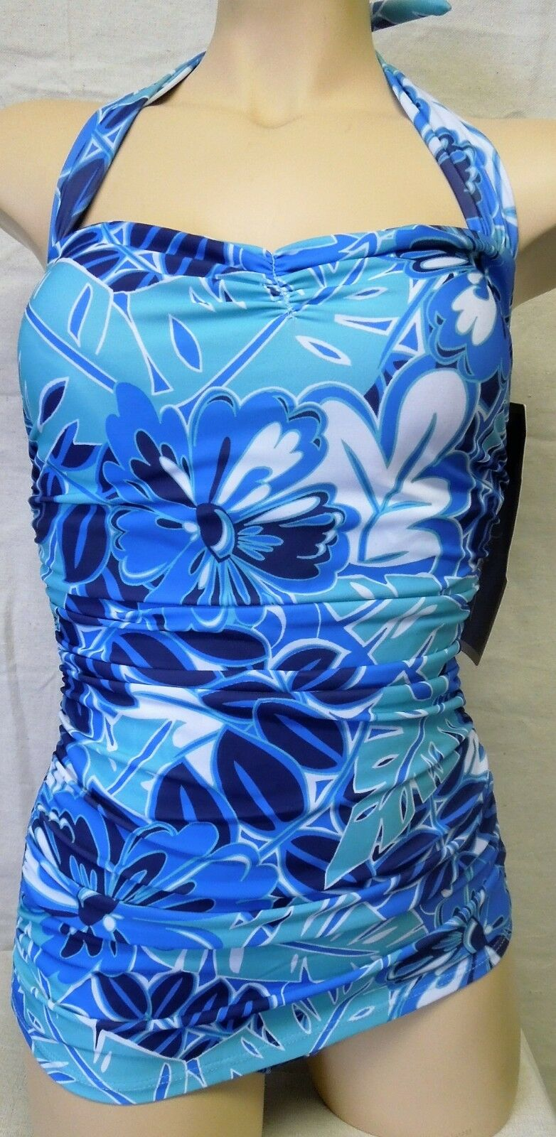Esther Williams One-Piece Classic Sheath Swimsuit - bluee Floral