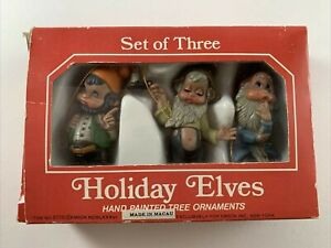 Set of 3 Holiday Elves Hand Painted Christmas Ornaments 1986 Vintage w/ Box