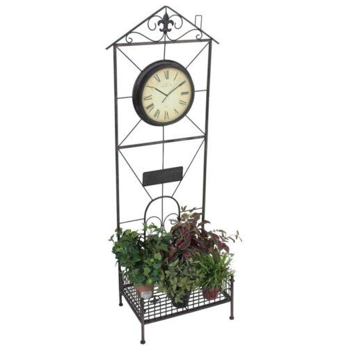 XL pflanzregal con orologio da giardino mensola decorazione con Ornamenti Fiori MENSOLA 3518568
