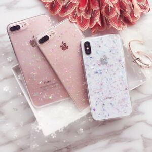 For-iPhone-XS-Max-XR-X-7-8-6s-Cute-Bling-Glitter-Slim-TPU-Soft-Clear-Case-Cover