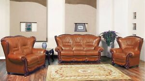 Details about Bella Cognac Leather Italian Design 3pc Sofa Set w/ Cherry  Finished Wood Accents