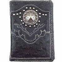 Premium Western Cowboy Mens Wallet Black Leather With Star Carved Design Wallet