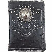 Premium Western Cowboy Mens Wallet Black Leather With Star Carved Design Wallet