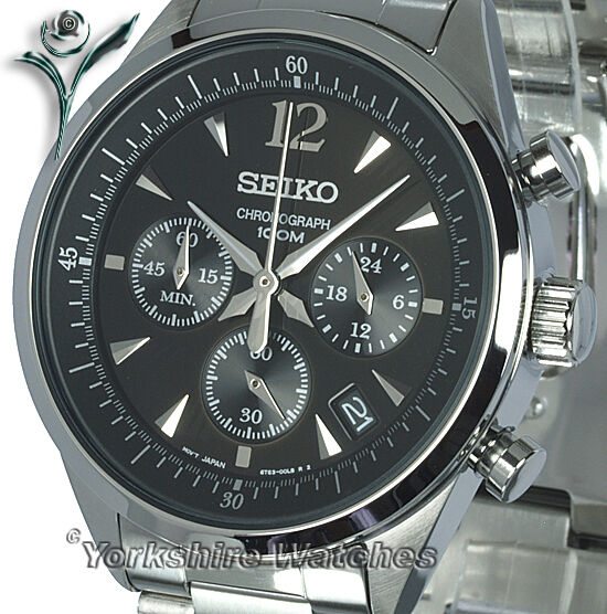 Seiko Quartz Black Dial Chronograph With Stainless Steel Bracelet SSB067P1