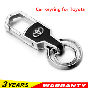 Hot-Double-Ring-Car-Logo-Metal-Leather-Key-chains-Silver-keyring-for-Toyota