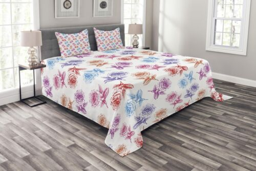 Romantic Blossoming Nature Print Details about  /Floral Quilted Bedspread /& Pillow Shams Set