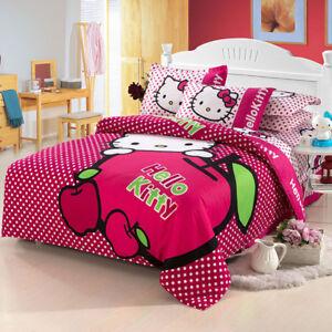 bbe3491b9c46 3D Hello Kitty Cartoon Pink Apple Polkadot Duvet Cover Comforter Set ...