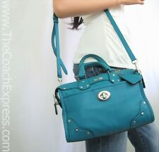 COACH MINT Teal Blue Leather Mini Rhyder Crossbody Satchel #33690