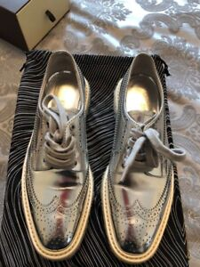 049f1fef Details about Prada Women's Leather Creeper Brogue Espadrilles - Silver -  Size:35