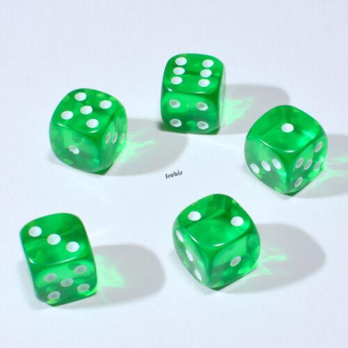 Augen Würfel Frobis Spielwürfel 25 Stück 12mm Transparent Grün Knobel Würfel