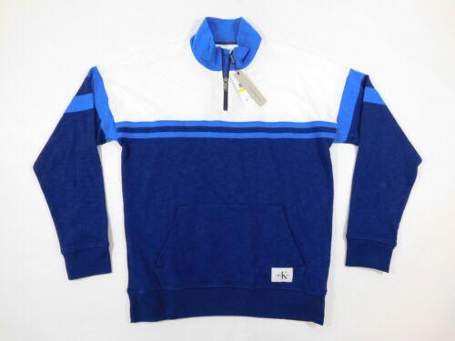 Klein Large Mock Blue Sweater Neck Zip Calvin Striped Ck Nwt Half Mens White OdxqXw