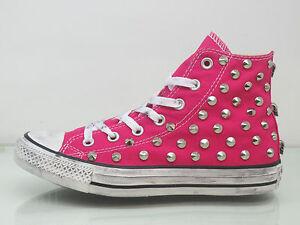 Converse all star Hi borchie teschi scarpe donna uomo sneaker Pink artigianali
