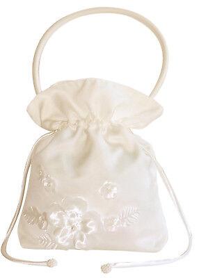 Weiss Ivory HBH Brautmoden Brauthandtasche aus Satin mit Perlen bestickt,Farbe