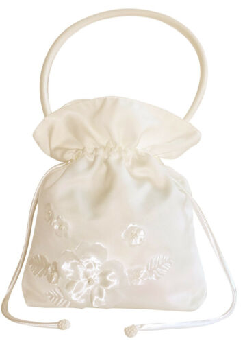 Hbh Brautmoden novia mano bolsa de satén con flores bordadas Ivory color blanco