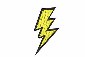 Image Is Loading YELLOW LIGHTNING BOLT PATCH ELECTRIC ZAP APPLIQUE FLASH