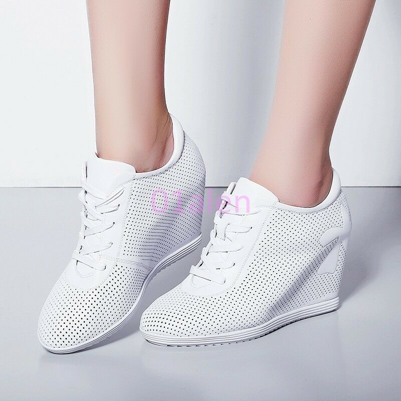 HOT Womens Shoes Leather High Wedge Hidden Heel Trainers Mesh Hollow Out Sneaker