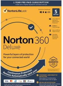 Norton 360 Deluxe Antivirus 5 Devices 1 Yr Key Card. --21 YEARS SELLING ON EBAY-