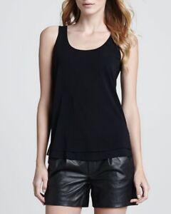 Vince-Women-s-XS-Double-Layer-Chiffon-Silk-Tank-Top-Sleeveless-In-Black