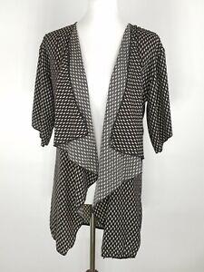 Lularoe-WOMEN-039-S-Piccolo-Lindsay-Stampa-Geometrica-Kimono-Cardigan-A-CASCATA-NERO