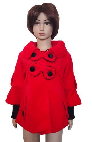 NUOVO ragazze invernale cappotto giacca in pile PARTE SUPERIORE SMART Giacca Rosso Rosa 2-6 anni #57