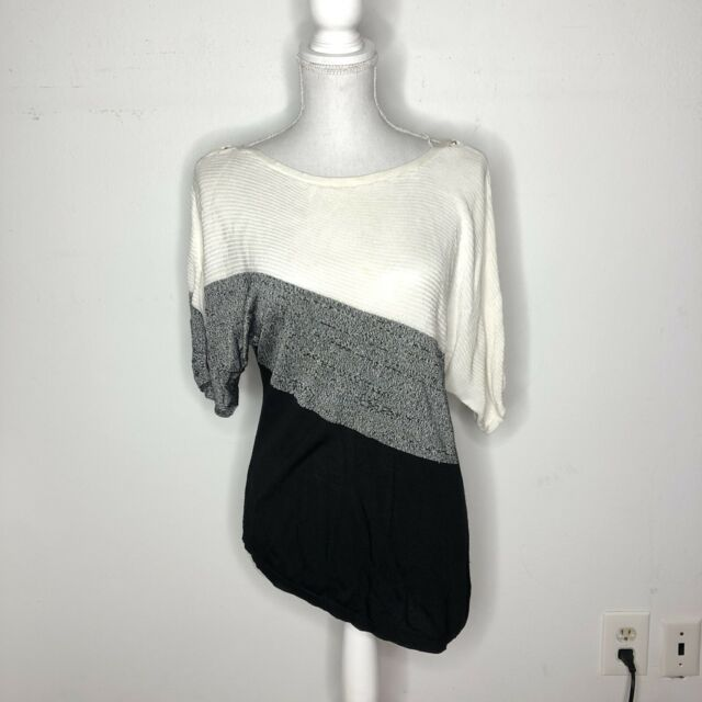 White House Black Market WHBM Womens Top Asymmetrical Tunic Striped Size Small