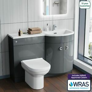 Manifold Bathroom Grey Basin Sink Vanity Unit Back To Wall ...