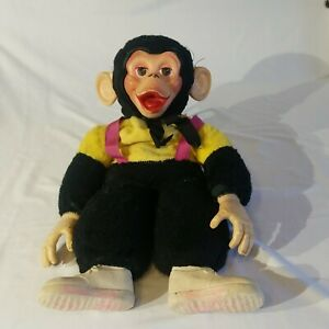 Vtg Zippy Monkey Plush Stuffed Doll Rubber Face Yellow Black Mr Bim Zip