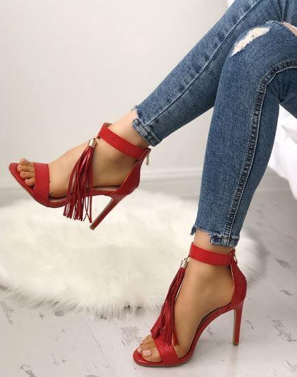 Sandali stiletto tronchetto rosso frange 12 cm  pelle sintetica eleganti 1306