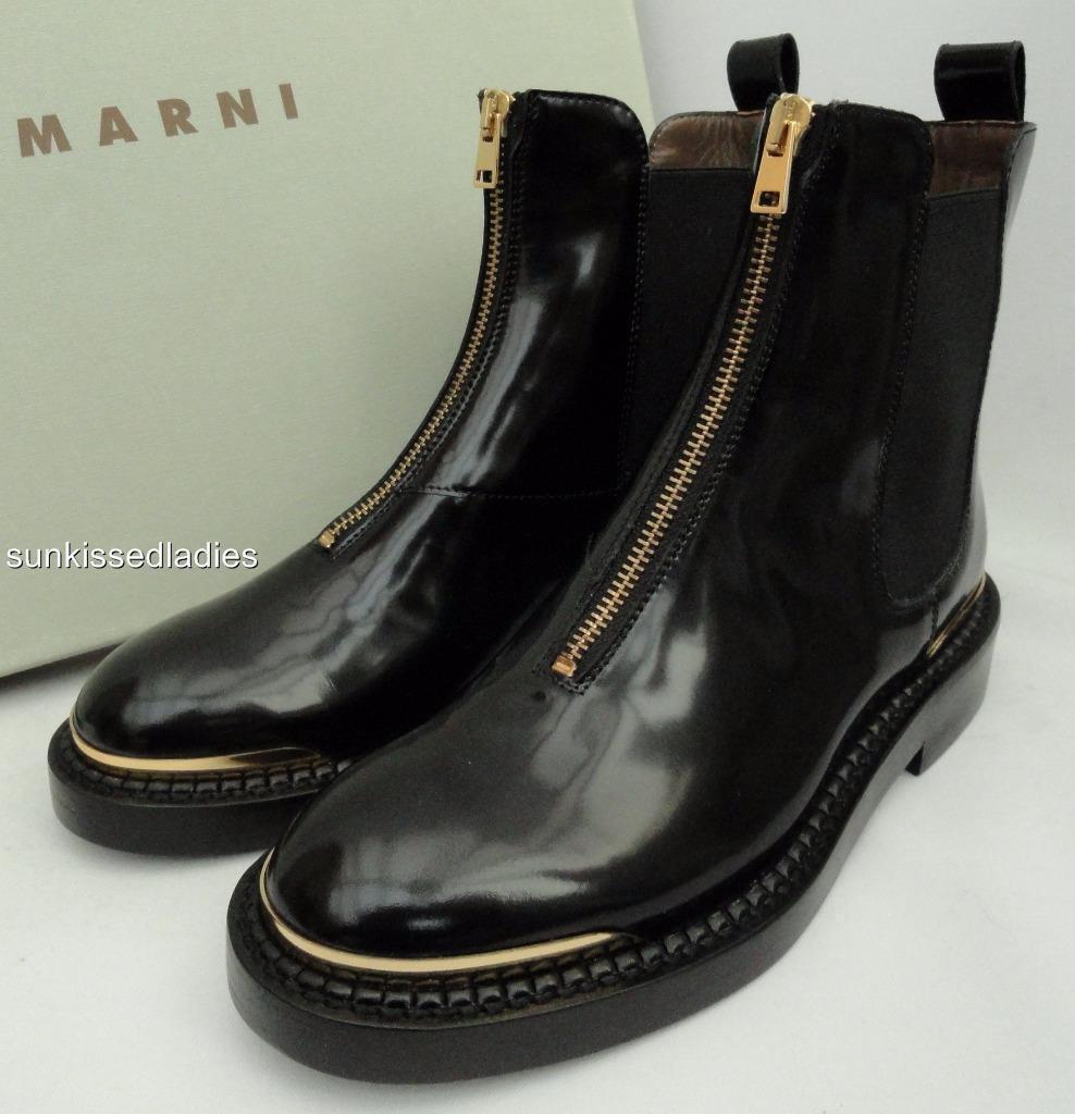 Marni Botas al Tobillo de Cuero Negro EU35 UK2 Regalo Perfecto Nuevo